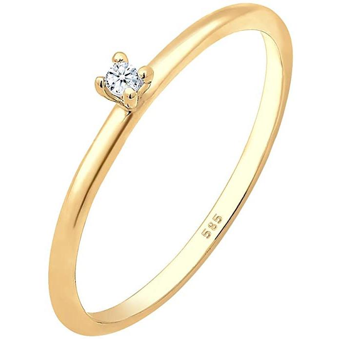 Anell de compromís amb diamant en or