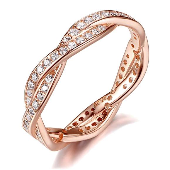 Anell d'or rosat amb zircònia cúbica