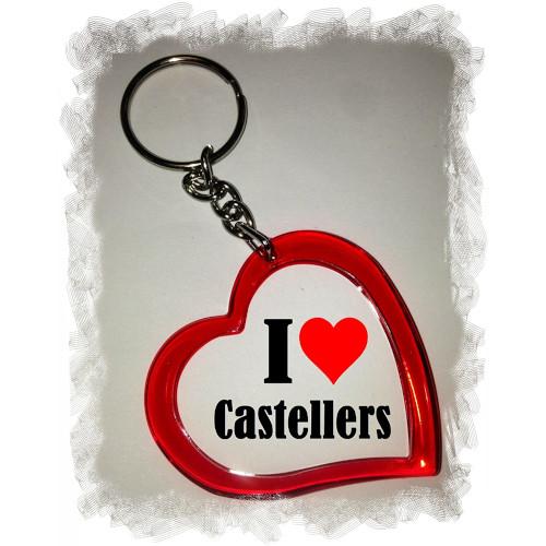 """Clauer """"I love Castellers"""" amb forma de cor"""