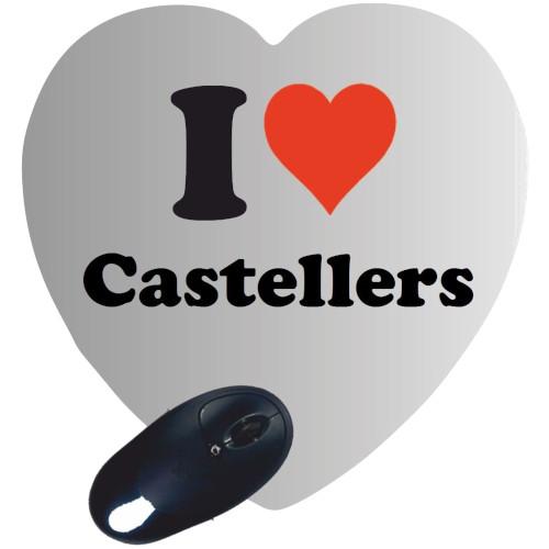 """Estoreta per a ratolí """"I love Castellers"""" amb forma de cor"""