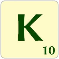 Fitxa Scrabble K de 10 punts