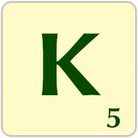 Fitxa Scrabble K de 5 punts