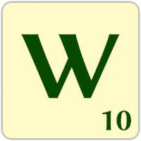 Fitxa Scrabble W de 10 punts