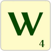 Fitxa Scrabble W de 4 punts