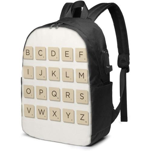 Motxilla amb fitxes de Scrabble