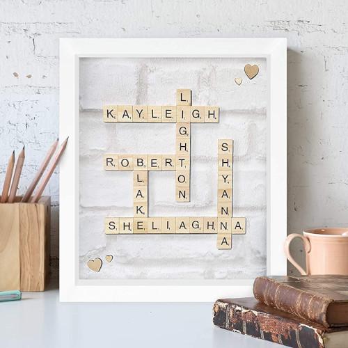 Quadre de noms amb fitxes de Scrabble